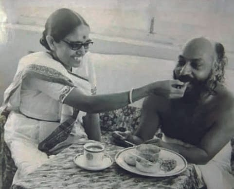 Osho gets fed from his wife
