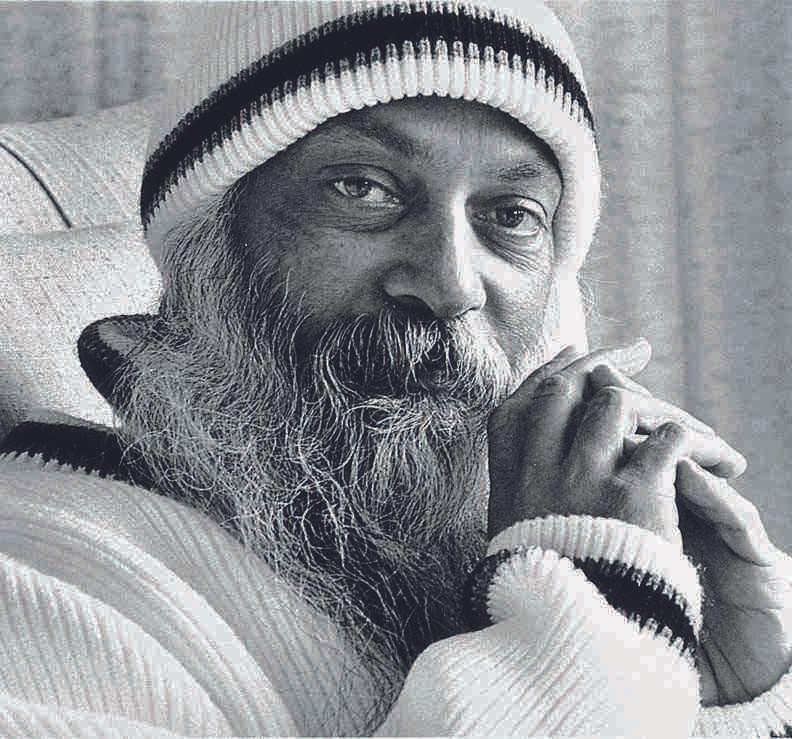 Black white Osho Rajneesh portrait